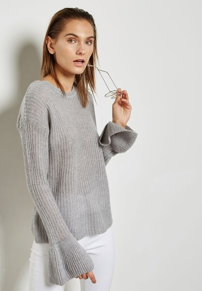 Ribbed Flute Sleeve Sweater