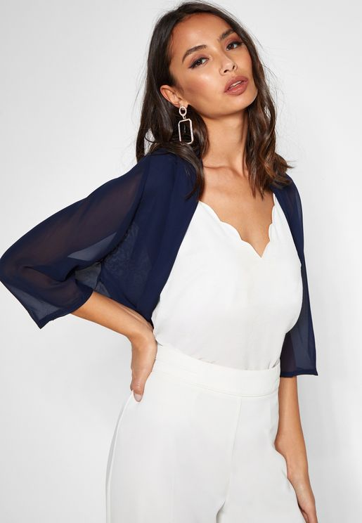 3/4 Sleeve Crepe Cover Up
