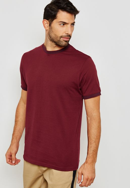 Contrast Edge Crew Neck T-Shirt