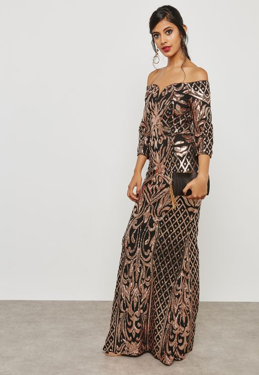 Sequin Bardot Maxi Dress