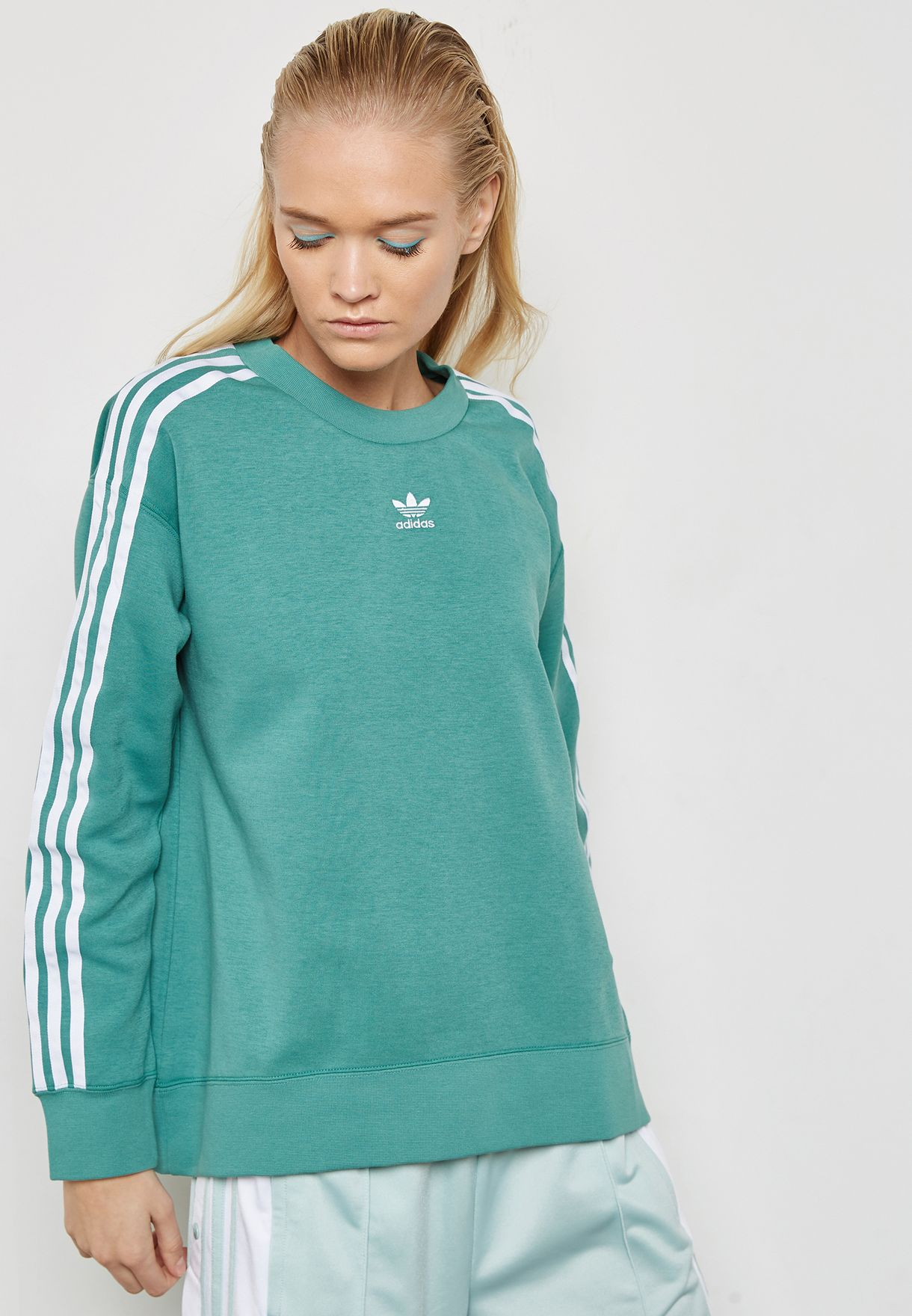adidas Originals Cotton Hoodie With Shoulder 3 Stripes Green