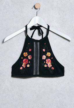Embroidered Cropped Bikini Top