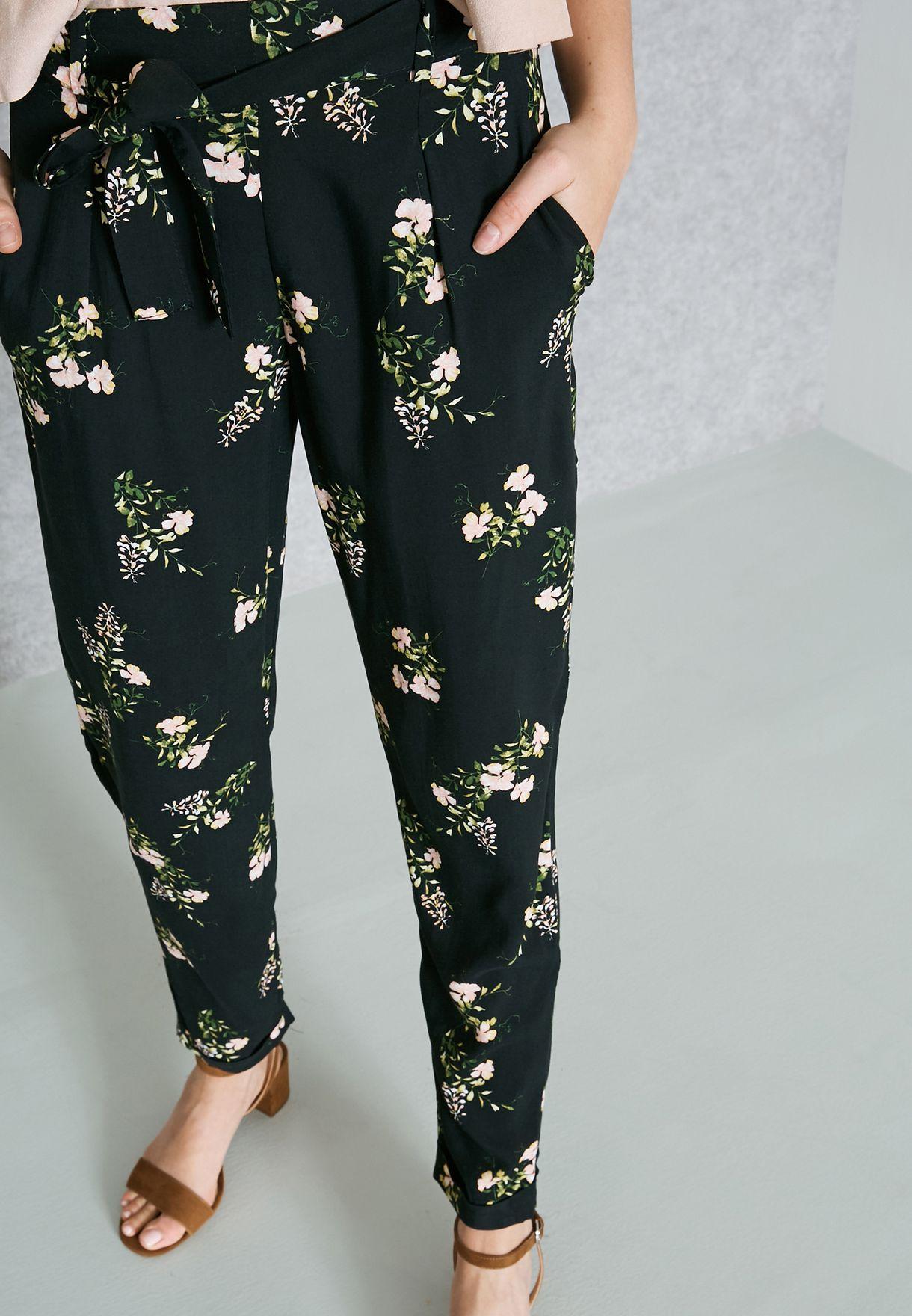 a76e084777 Tie Waist Floral Print Joggers