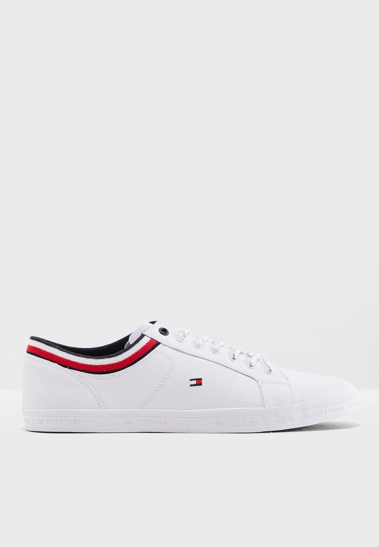 e3a850336 Shop Tommy Hilfiger white Essential Leathermix Sneakers FM0FM01632 ...