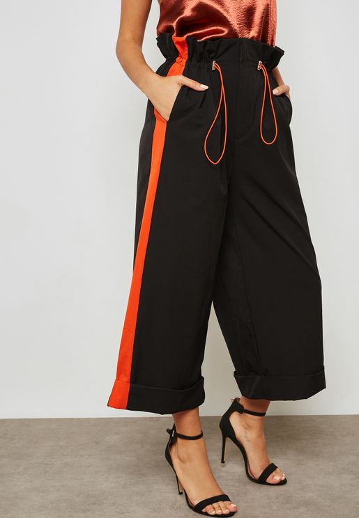 Paperbag Waist Contrast Side Paneled Pants