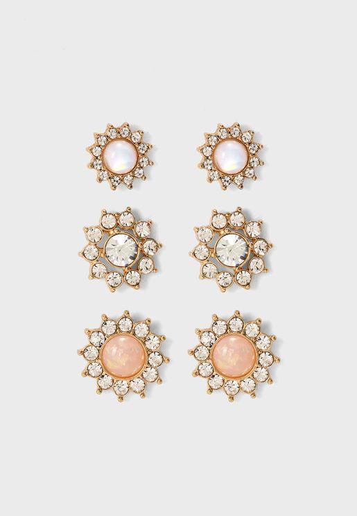 Rhinestone Star Stud Earrings Set