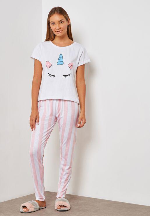Unicorn Striped Pyjama Set