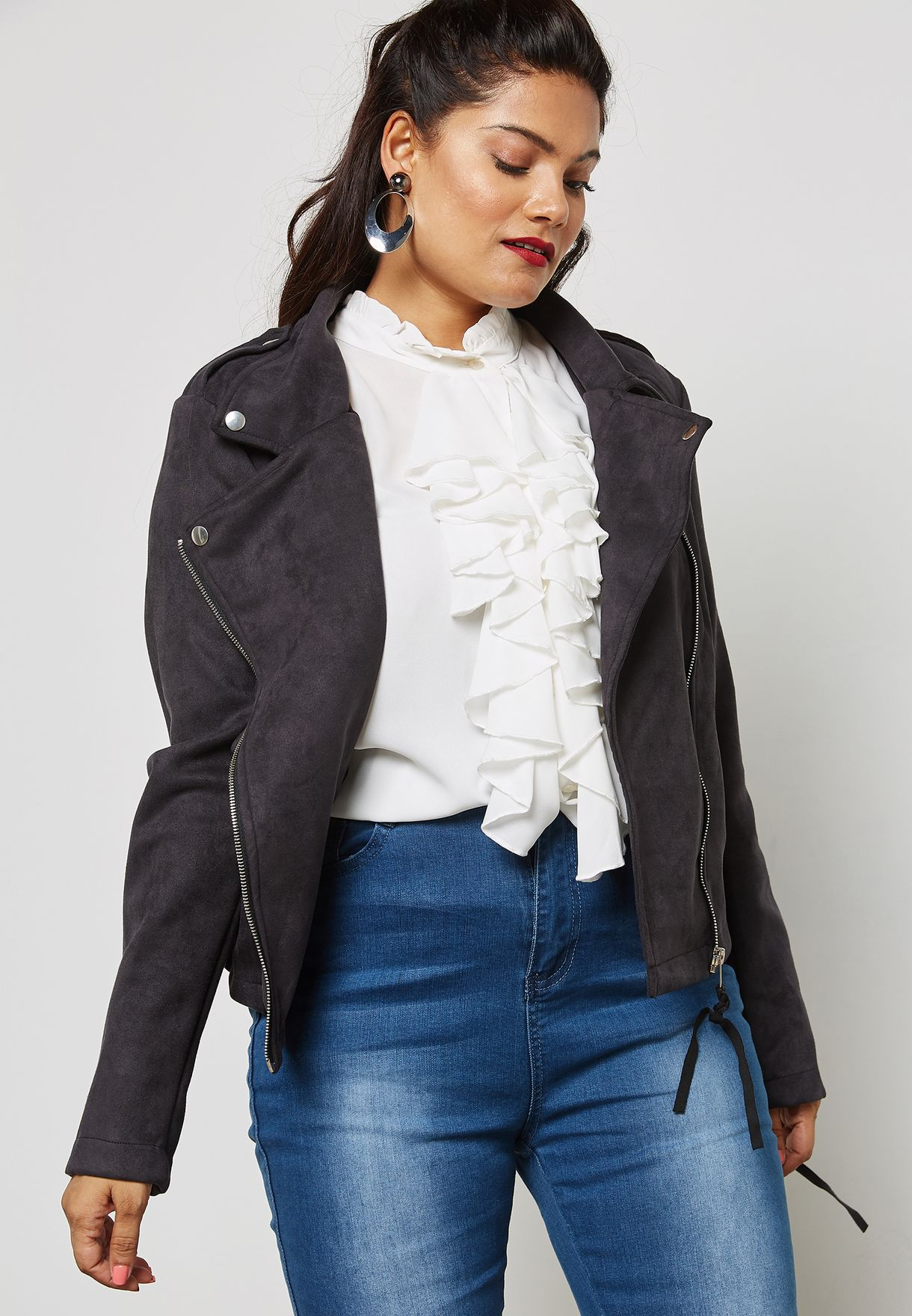 ddc1ee3f48d Shop Missguided Curve grey Faux Suede Biker Jacket WXV9773026 for Women in  Bahrain - MI796AT51ECA
