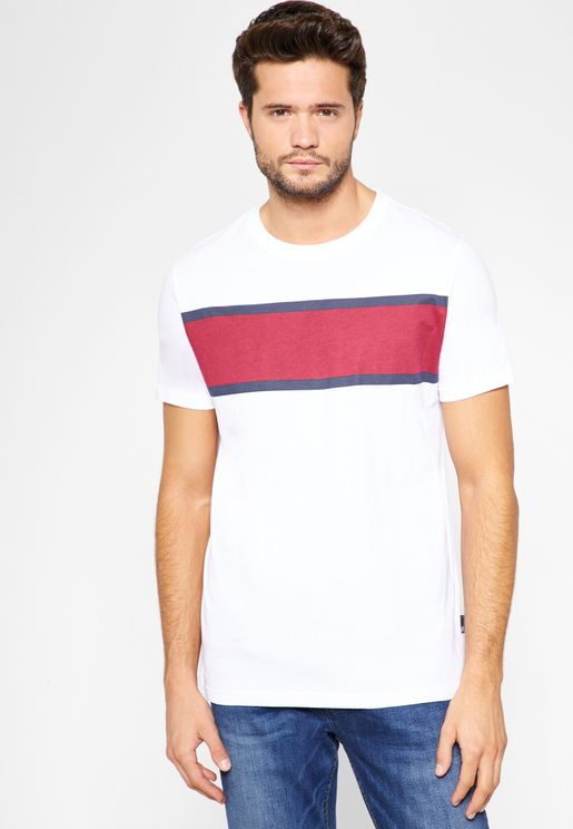 Chest Colourblock Stripe T-Shirt