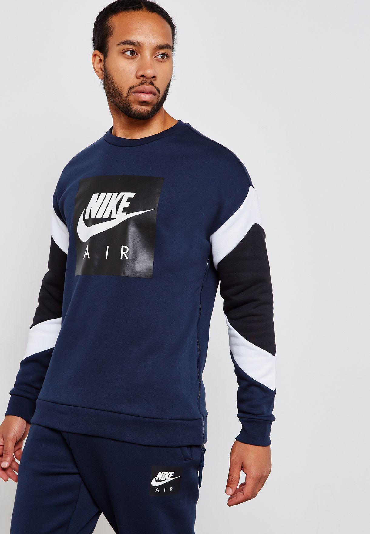 a29642fb46fd Shop Nike navy Air Fleece Sweatshirt 928635-452 for Men in UAE ...