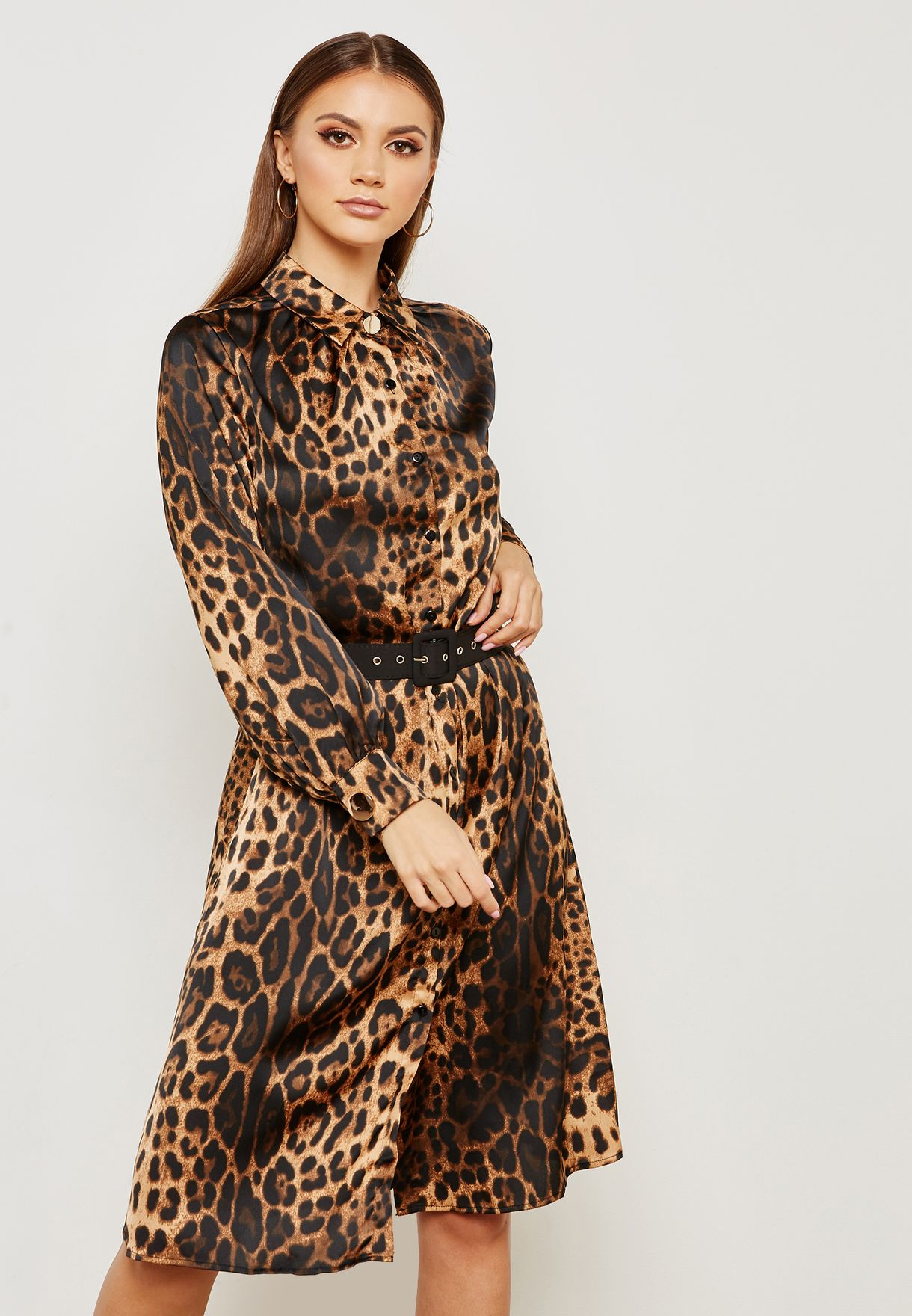 d775398948d Shop Ella prints Leopard Print Belted Shirt Dress 8010AC for Women ...