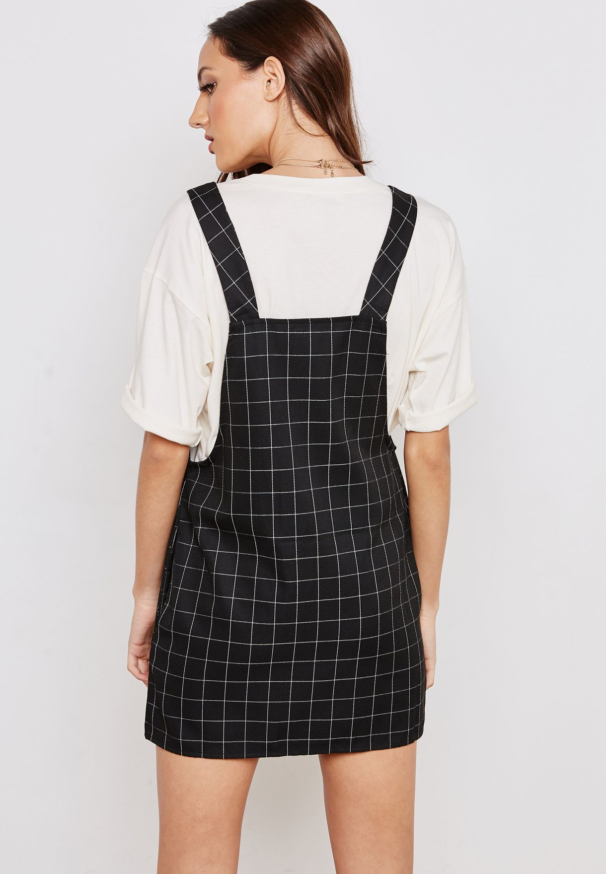 40961a89d01 Shop Forever 21 black Full Zip Checked Pinafore Dress 280532 for ...