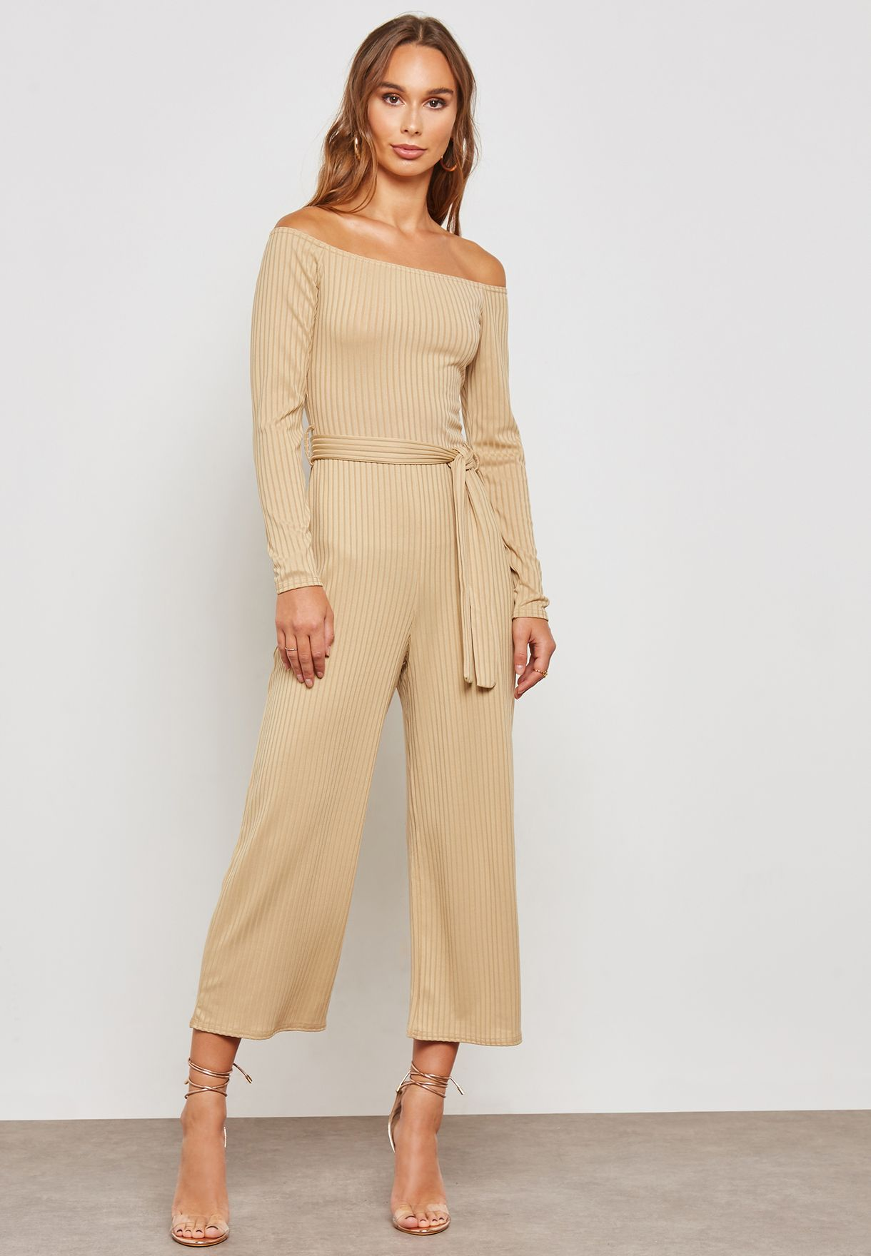 great discount get cheap wide selection of colours and designs Ribbed Bardot Long Sleeve Jumpsuit