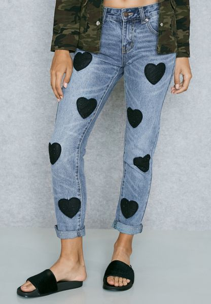 Heart Patch Boyfriend Jeans