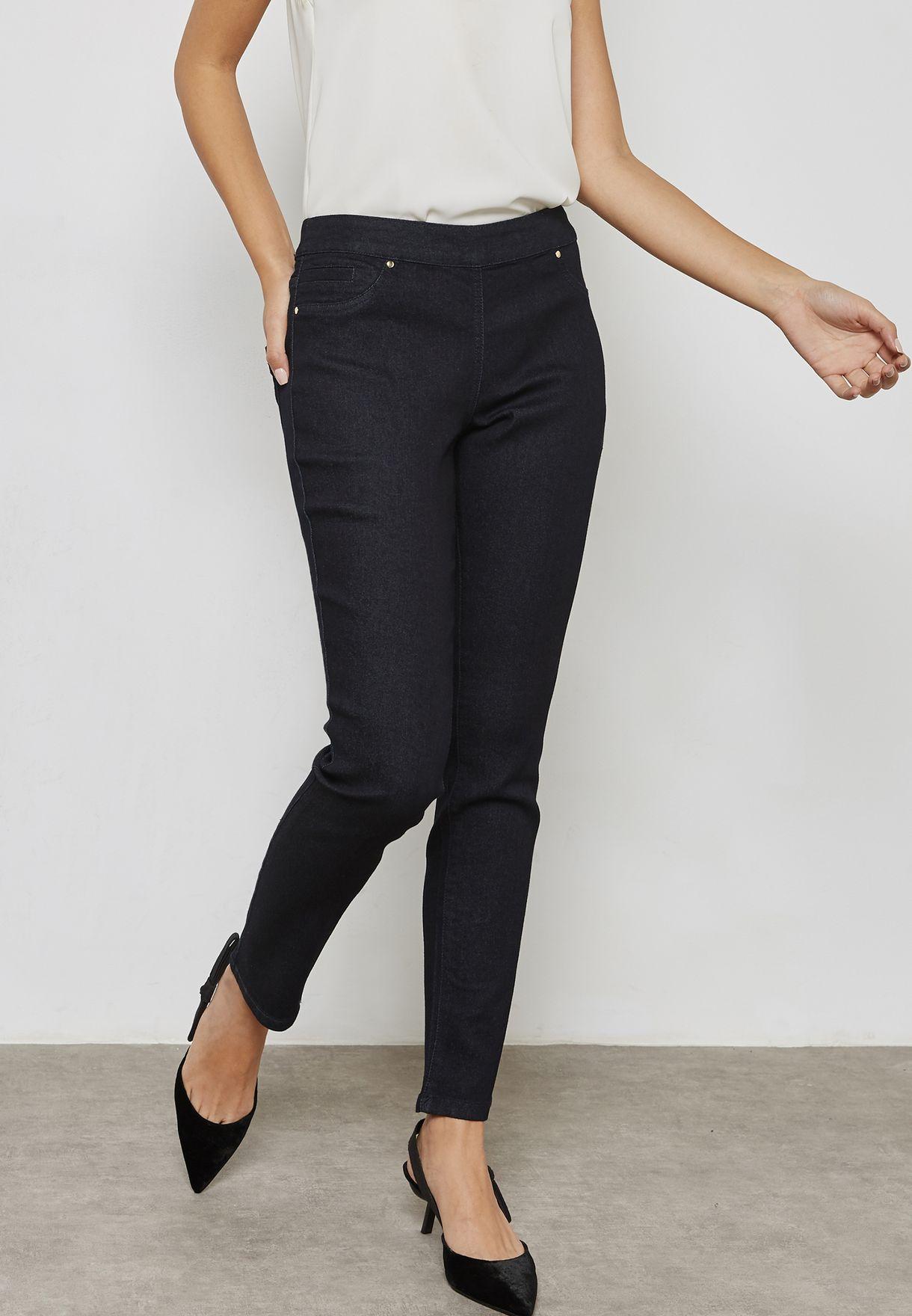 15894259d0e Shop Wallis Petite navy Side Zip Skinny Jeans 090077133 for Women in Qatar  - WA008AT51YIA