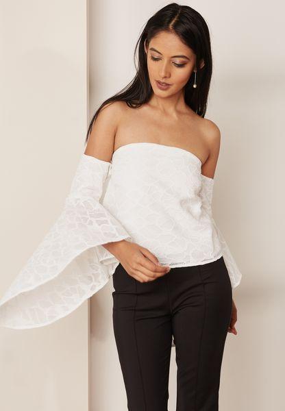 Oversized Flared Sleeve Bardot Top