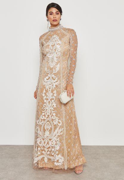 Embellished High Neck Sheer Dress