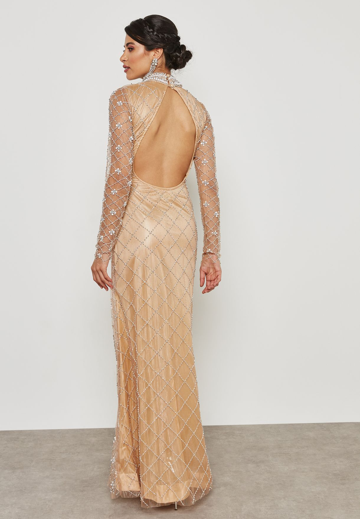 Embellished High Neck Sheer Dress