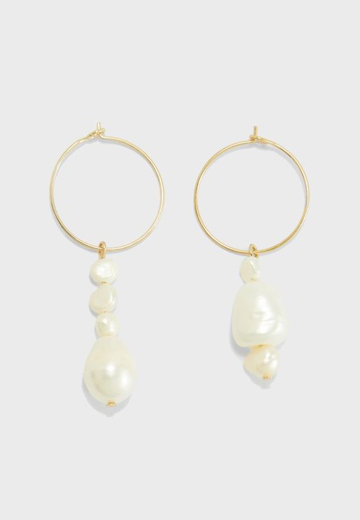George Hoop Pear Earrings