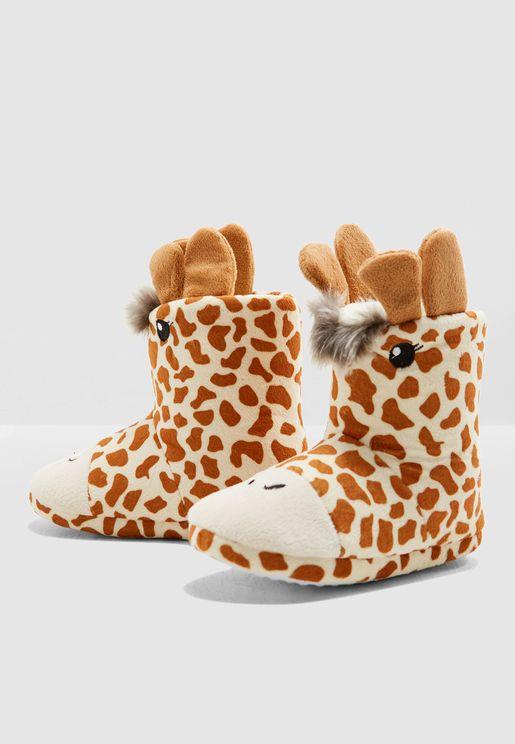 حذاء فروْ سهل الارتداء بشكل زرافة