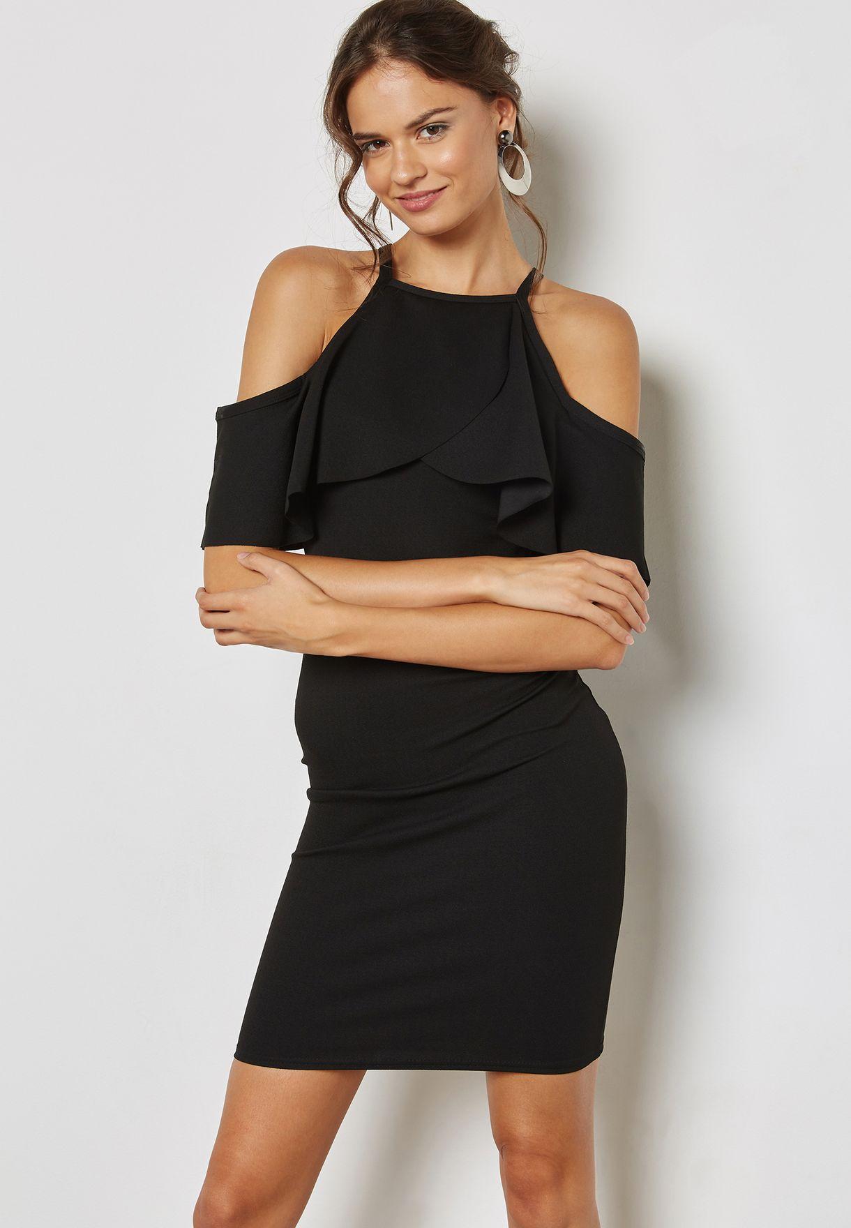 3ad3b8b0eb8 Shop Quiz black Ruffle Detail Cold Shoulder Bodycon Dress ...