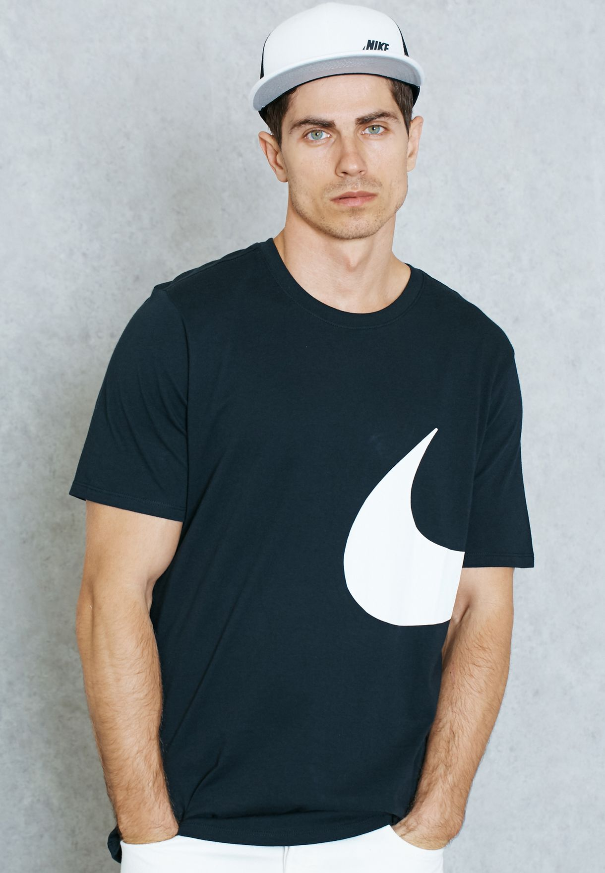 110b55c11 Shop Nike black Oversize Swoosh T-Shirt 804999-010 for Men in UAE ...