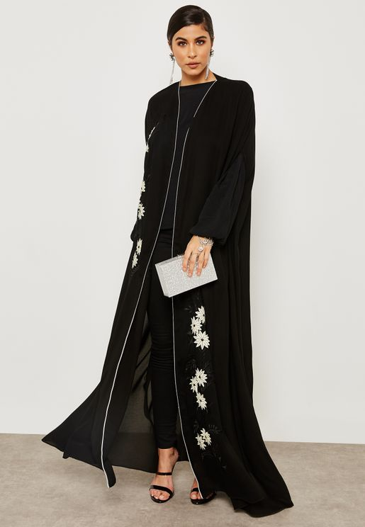 Embroidered Laser Work Cape Abaya