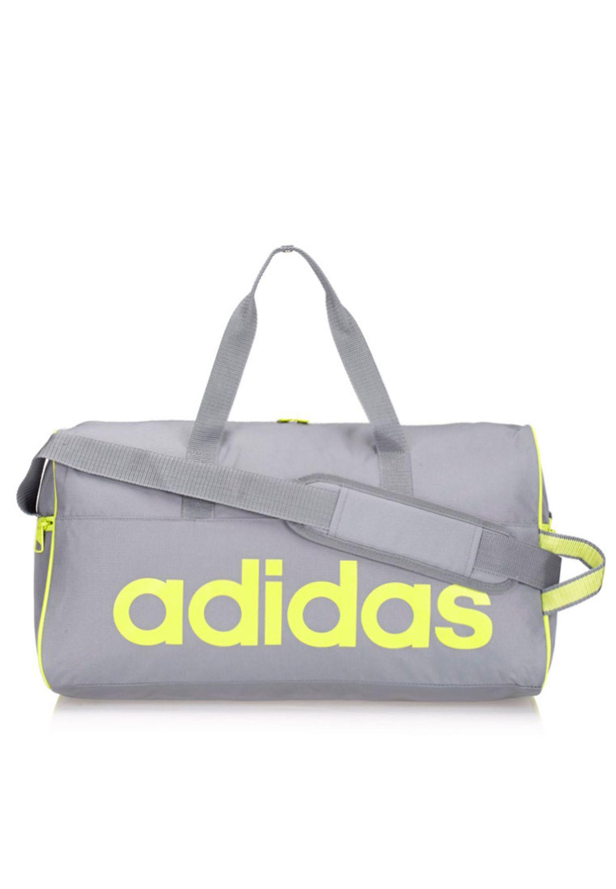 11aa67bd982b6c Shop adidas grey Small Linear Performance Duffel Bag S24688 for Men ...
