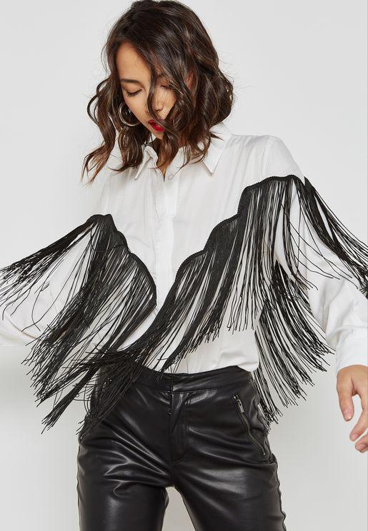 قميص مزين بشراشيب