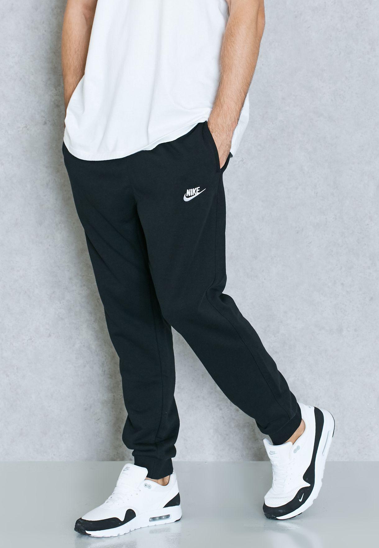 Shop Nike Black Club Cuffed Sweatpants 804465 010 For Men In Qatar