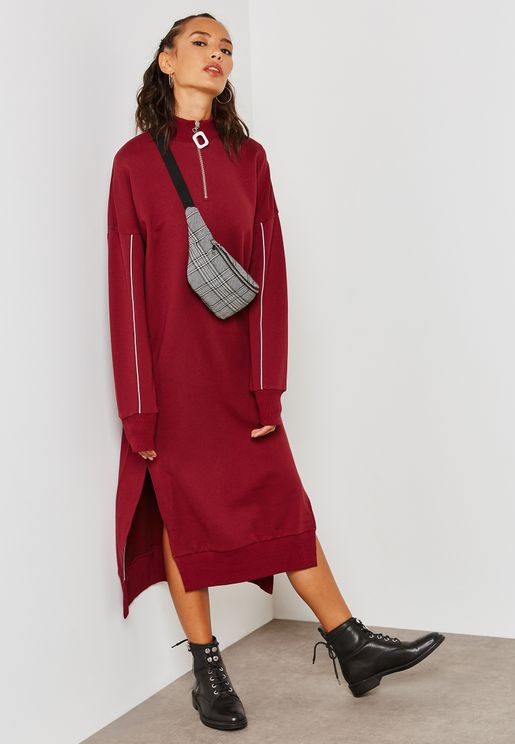 Side Split Zip Detail Sweatshirt Dress