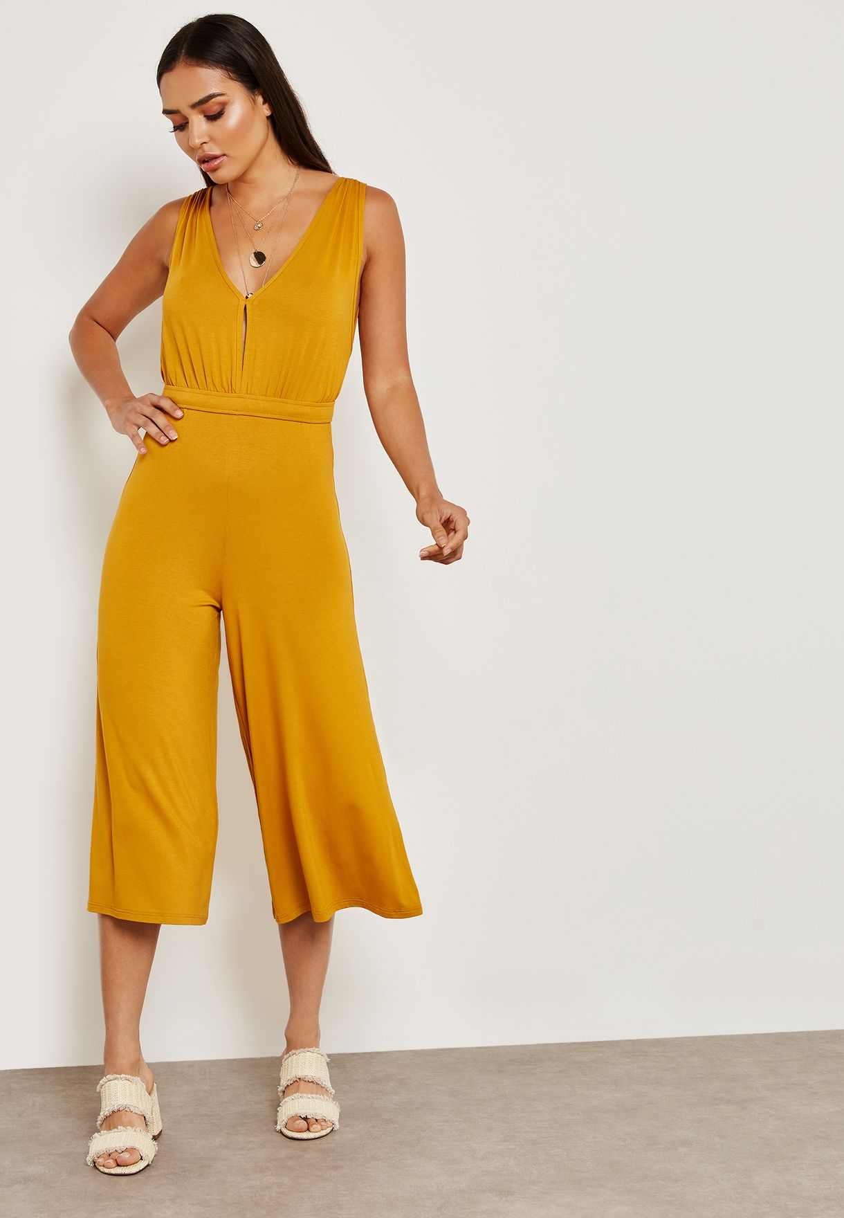 V Back Culotte Jumpsuit