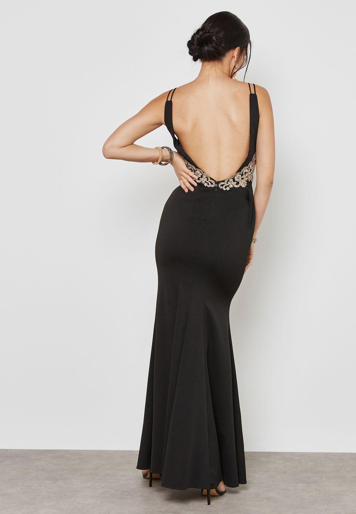 Shop Soieblu black Embellished Plunge Bodycon Maxi Dress M17432 for ... ba97e627c
