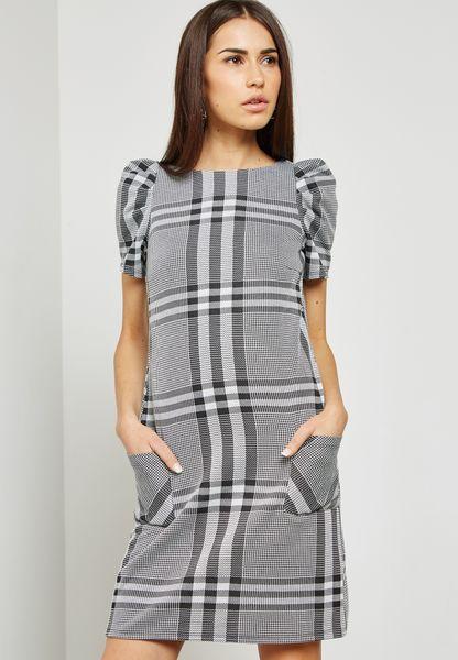 Jacquard Check Shift Dress