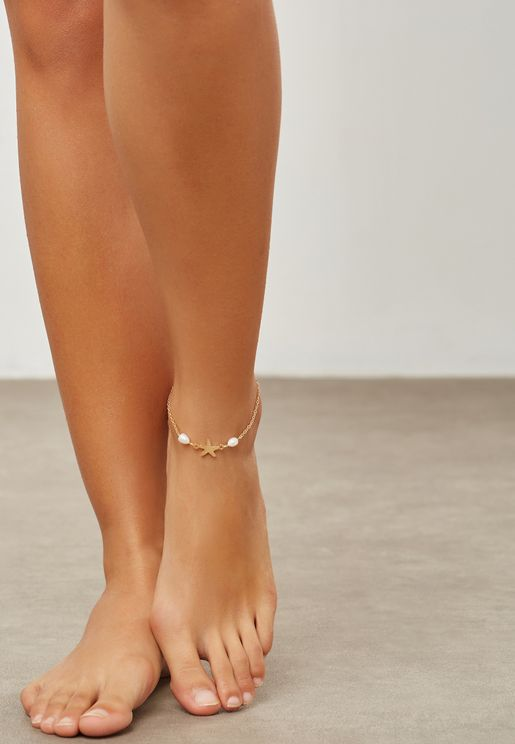 Anklet with Star & Pearl
