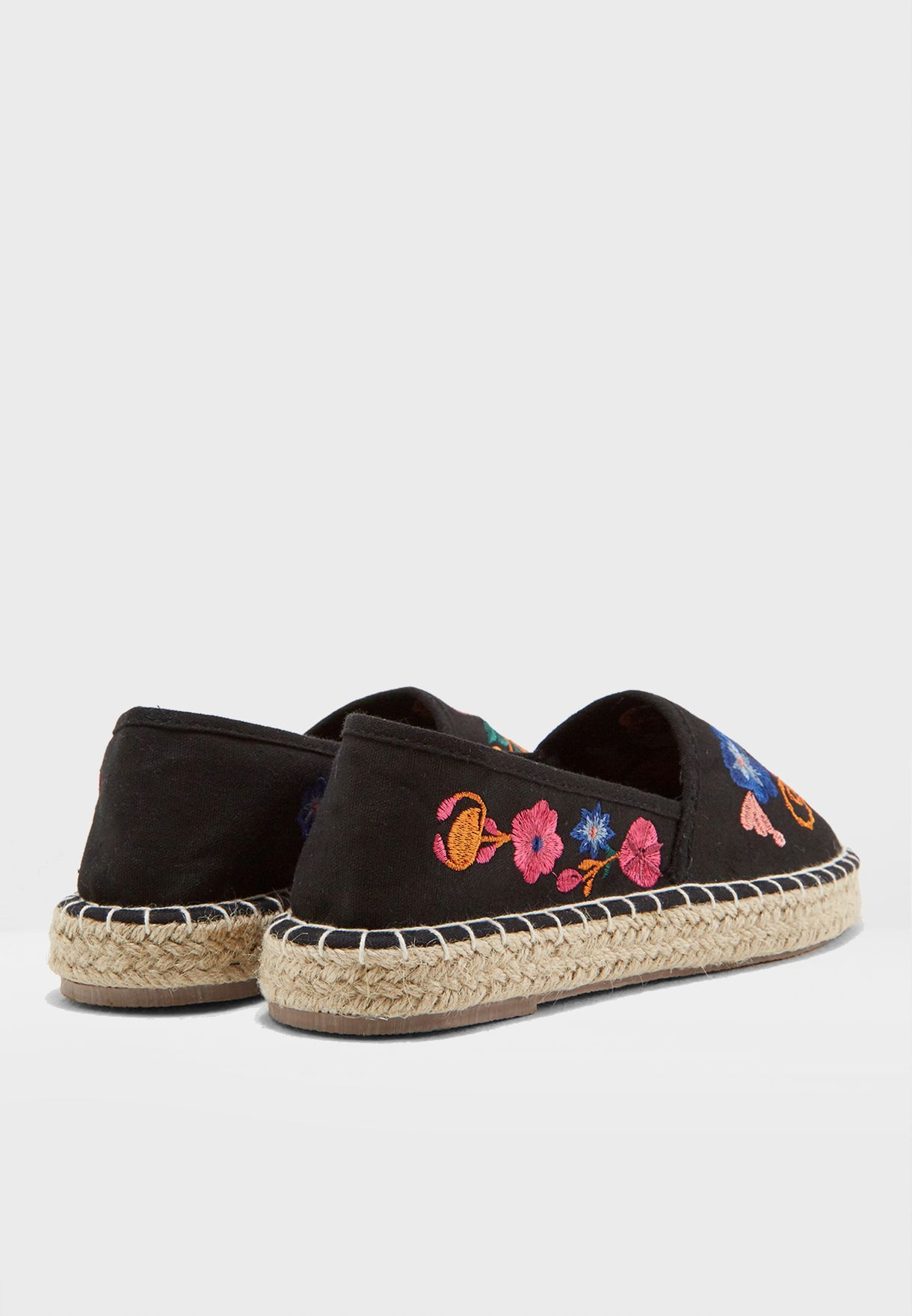fa24079c4a1c Shop South beach black Floral Embroidered Espadrilles 66812 for ...