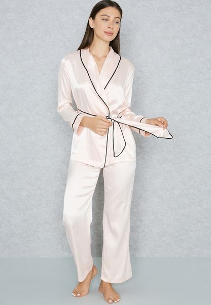 Waist Tie Contrast Piping Pyjama Set