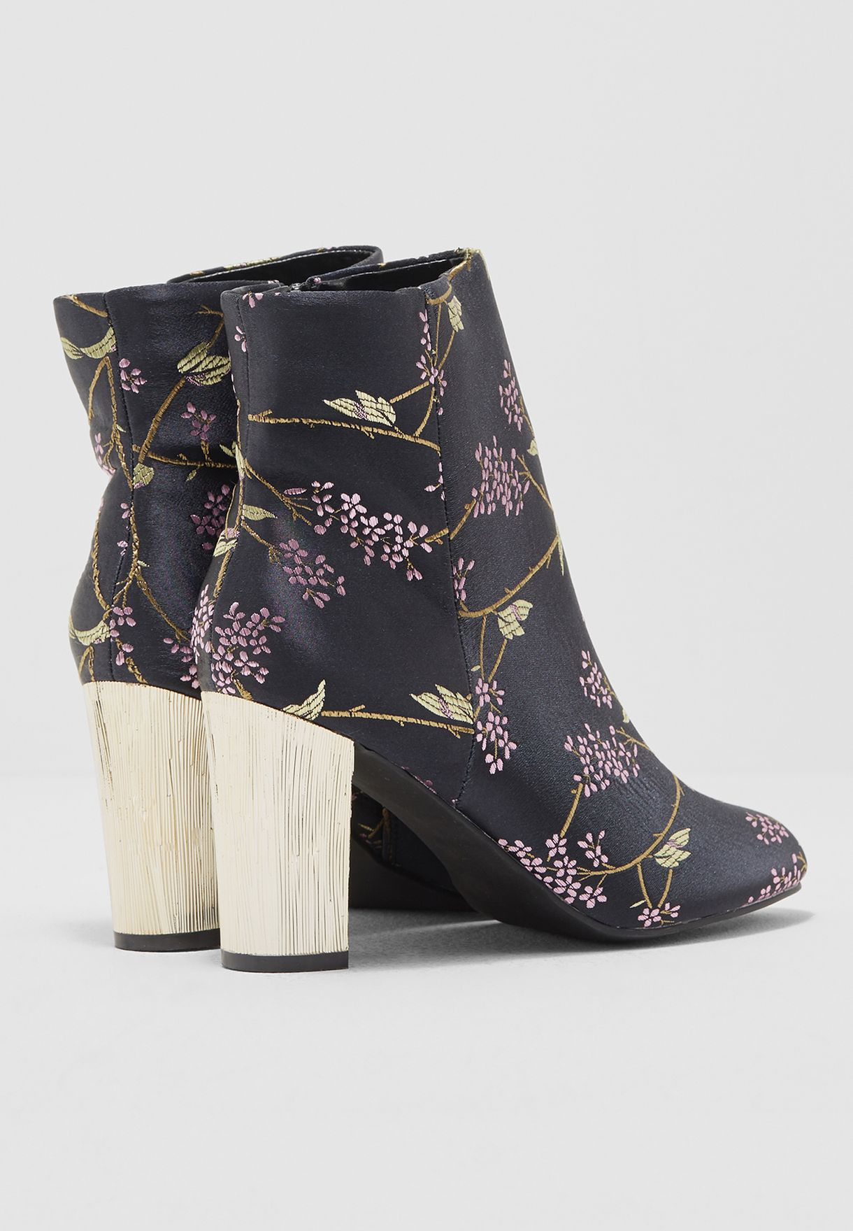 Satin Print Ankle Boot With Gold Heel