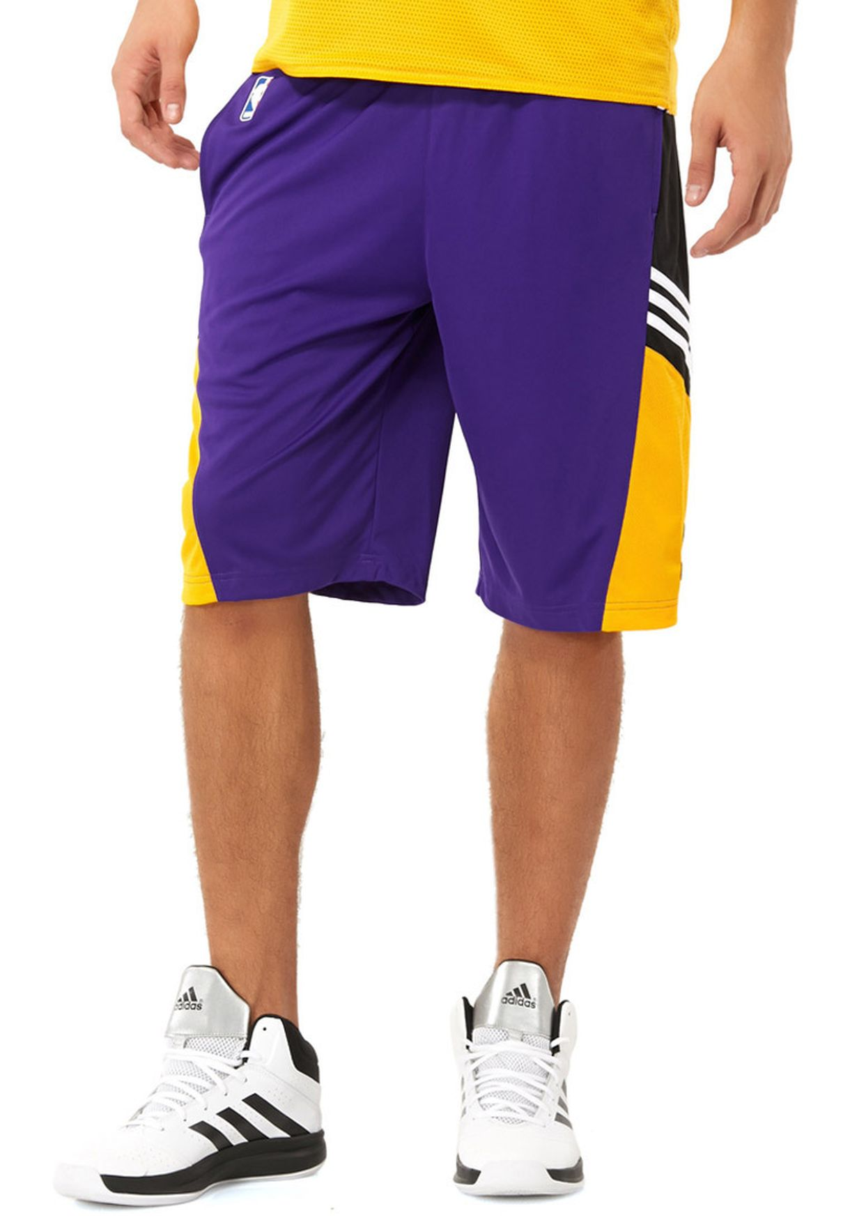 5c69367d6 Shop adidas purple Lakers Winter Shorts F87749 for Men in Bahrain ...