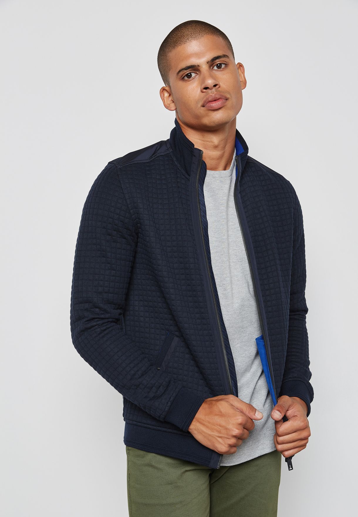 Shop Ted Baker Navy Quilted Bomber Jacket Ken For Men In Saudi
