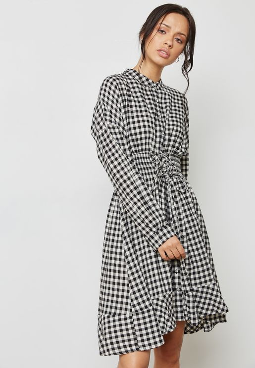 Gingham Frill Detail Dress