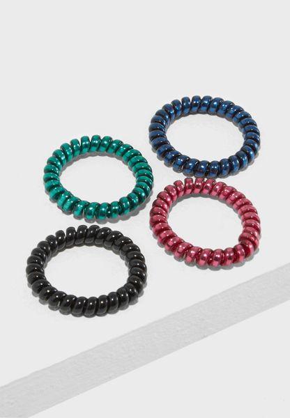 Mini Petrol Spirals Headbands Pack of 4