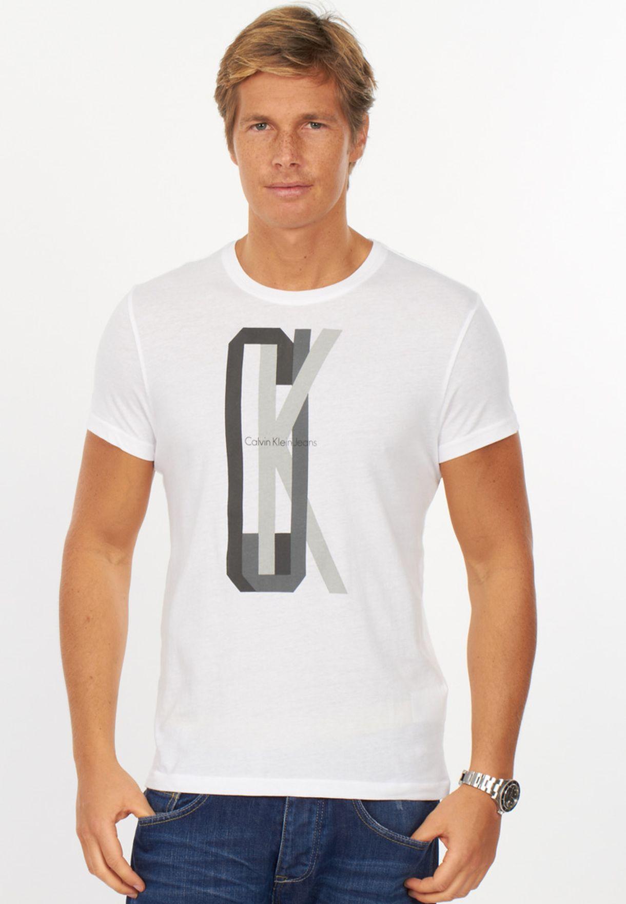 f8d21b3e Shop Calvin Klein Jeans white Crew Neck Tshirt for Men in Kuwait ...