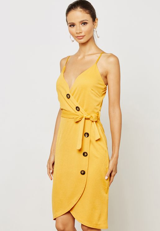 Belted Button Detail Midi Dress