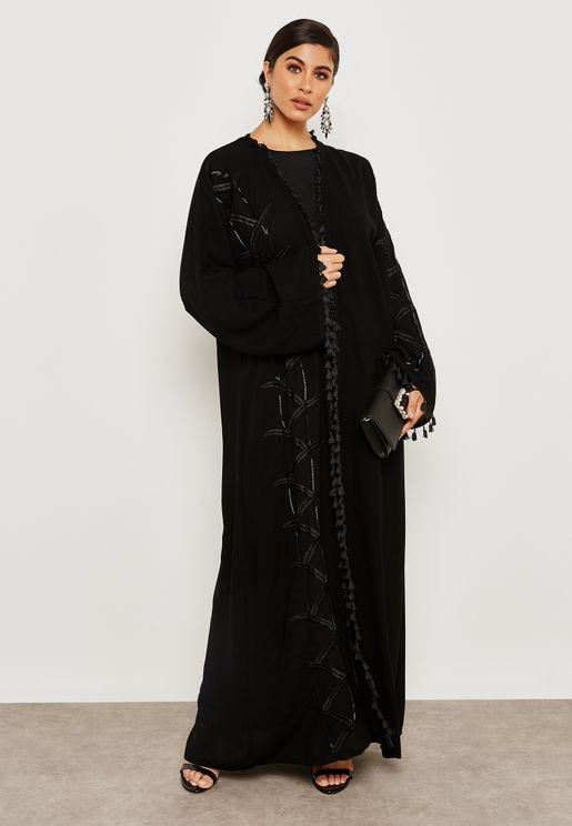 One Side Embroidered Beadwork Abaya
