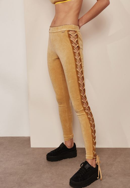 Velour Lacing Tights