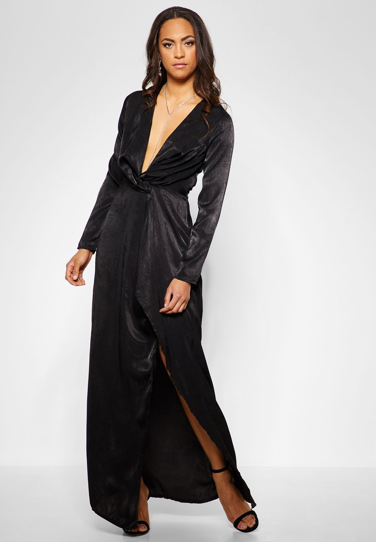Satin Wrap Front  Maxi Dress