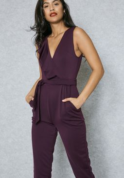 Ruffle Wrap Front Self Tie Jumpsuit