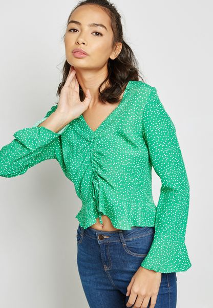 Flute Sleeve Ruched Top