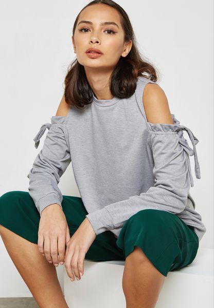 Cold Shoulder Frill Sweater